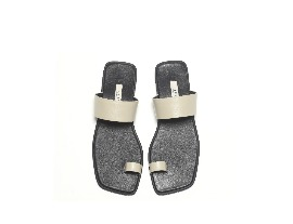 Square 2way Sandal - beige + black
